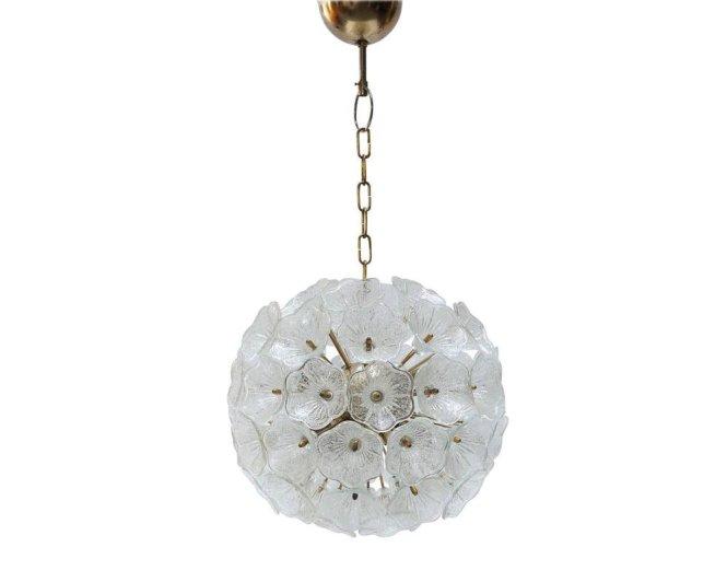 Murano Glass Flower Chandelier From 1960s