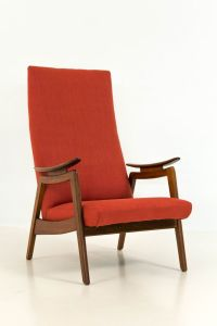 Mid-Century Modern Red High Back Chairs, 1960s, Set of 2 ...
