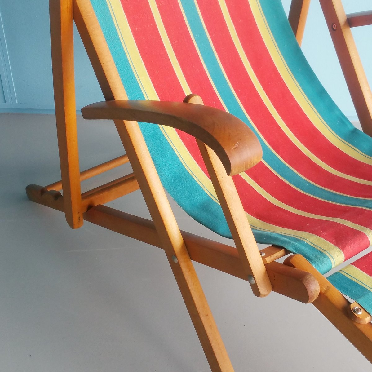 Folding Wood Beach Chair Vintage Folding Wooden Beach Chair 1960s For Sale At Pamono