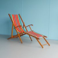 Vintage Folding Wooden Beach Chair, 1960s for sale at Pamono