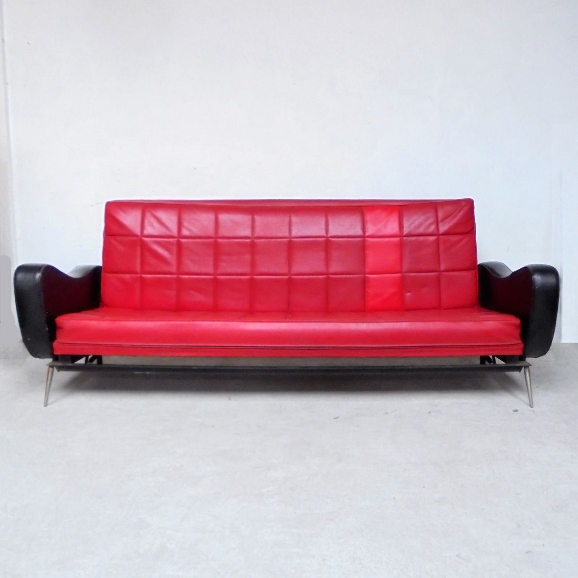 black and red sofa bed kitchen corner set vintage skai 1950s for sale at pamono