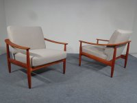 Mid-Century Cherry Wood Arm Chairs from Knoll, 1950s, Set ...