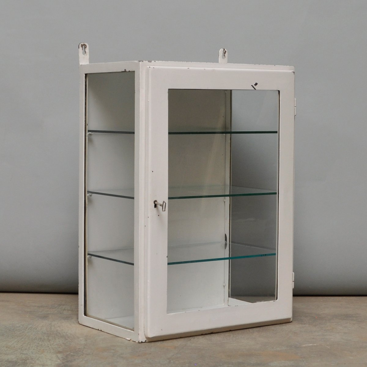 Small Hanging Iron and Antique Glass Medicine Cabinet
