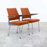 Mid-Century Office Chairs in Metal, Teak, and Chrome, Set ...