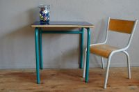 Dark Blue School Desk & Chair, 1960s for sale at Pamono