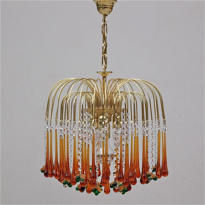 Vintage Teardrop And Fruit Murano Glass Chandelier