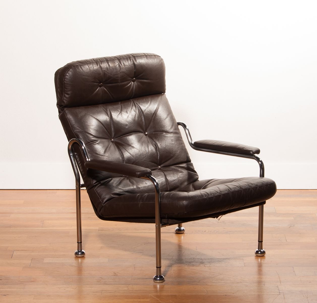 steel lounge chair desk amazon swedish brown leather and tubular 1970s