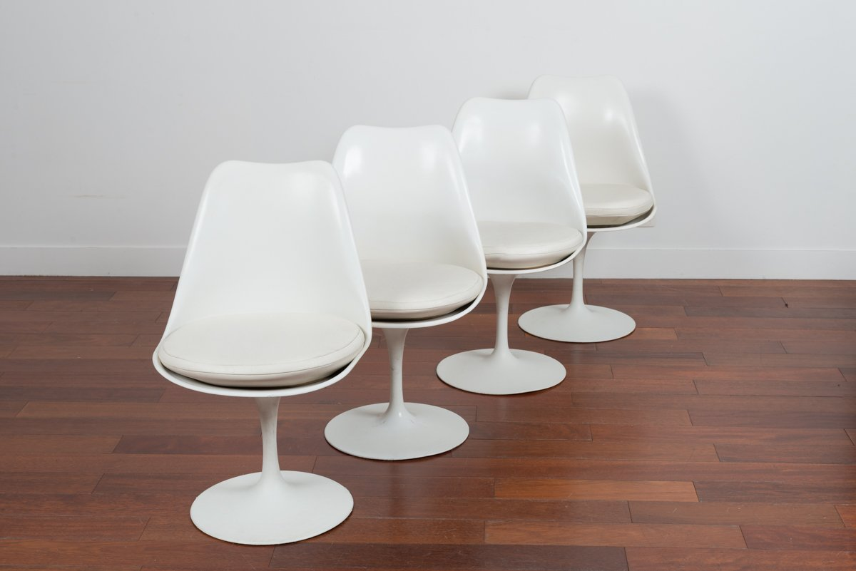 retro white chair cheap 6 dining set vintage tulip chairs by eero saarinen for ed knoll