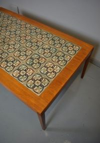 Mid-Century Danish Teak Tile Top Coffee Table from Haslev ...