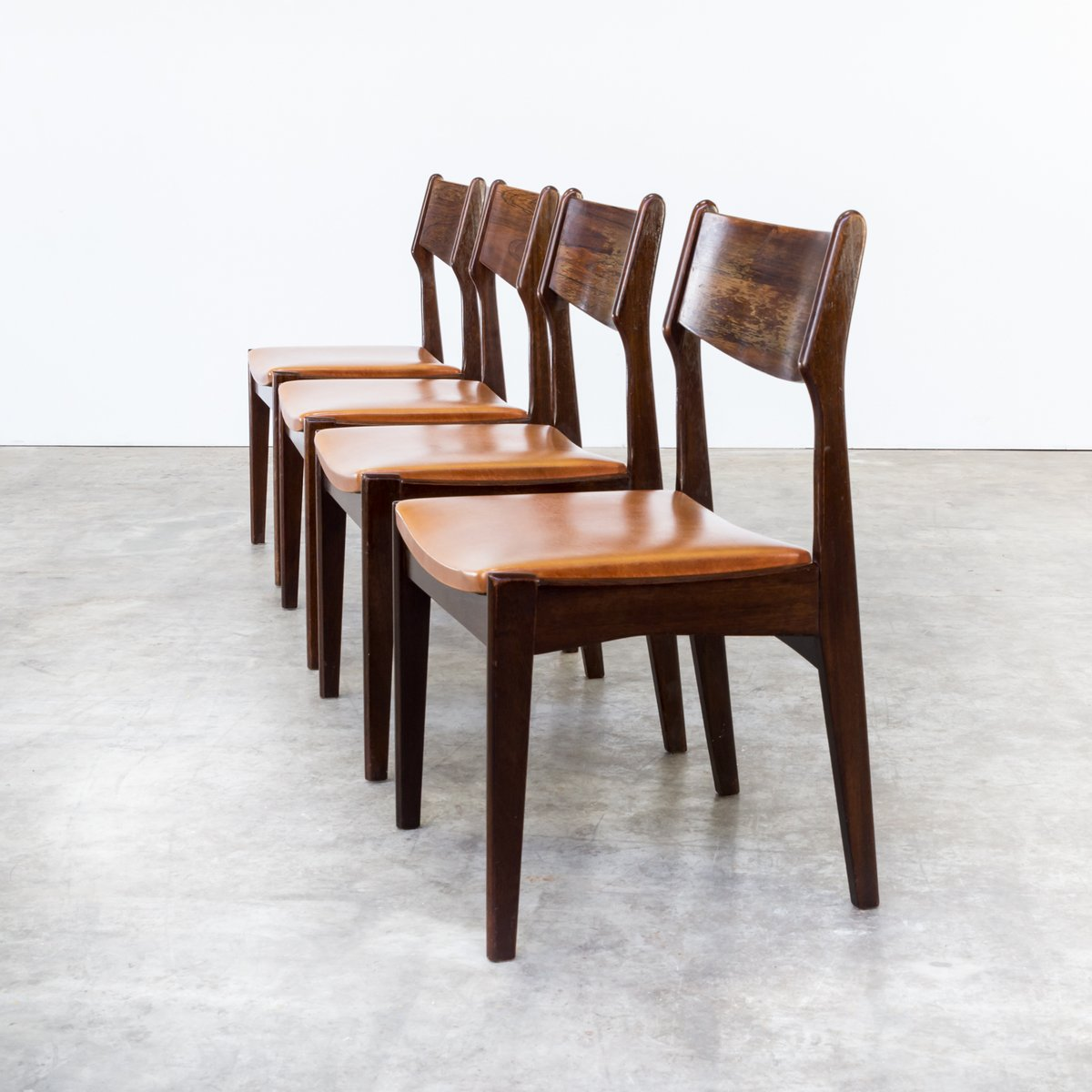 set of 4 dining chairs parsons chair cover tutorial teak leatherette 1960s for sale
