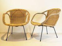Mid-Century Modern Woven Wicker Basket Chairs, 1960s, Set ...
