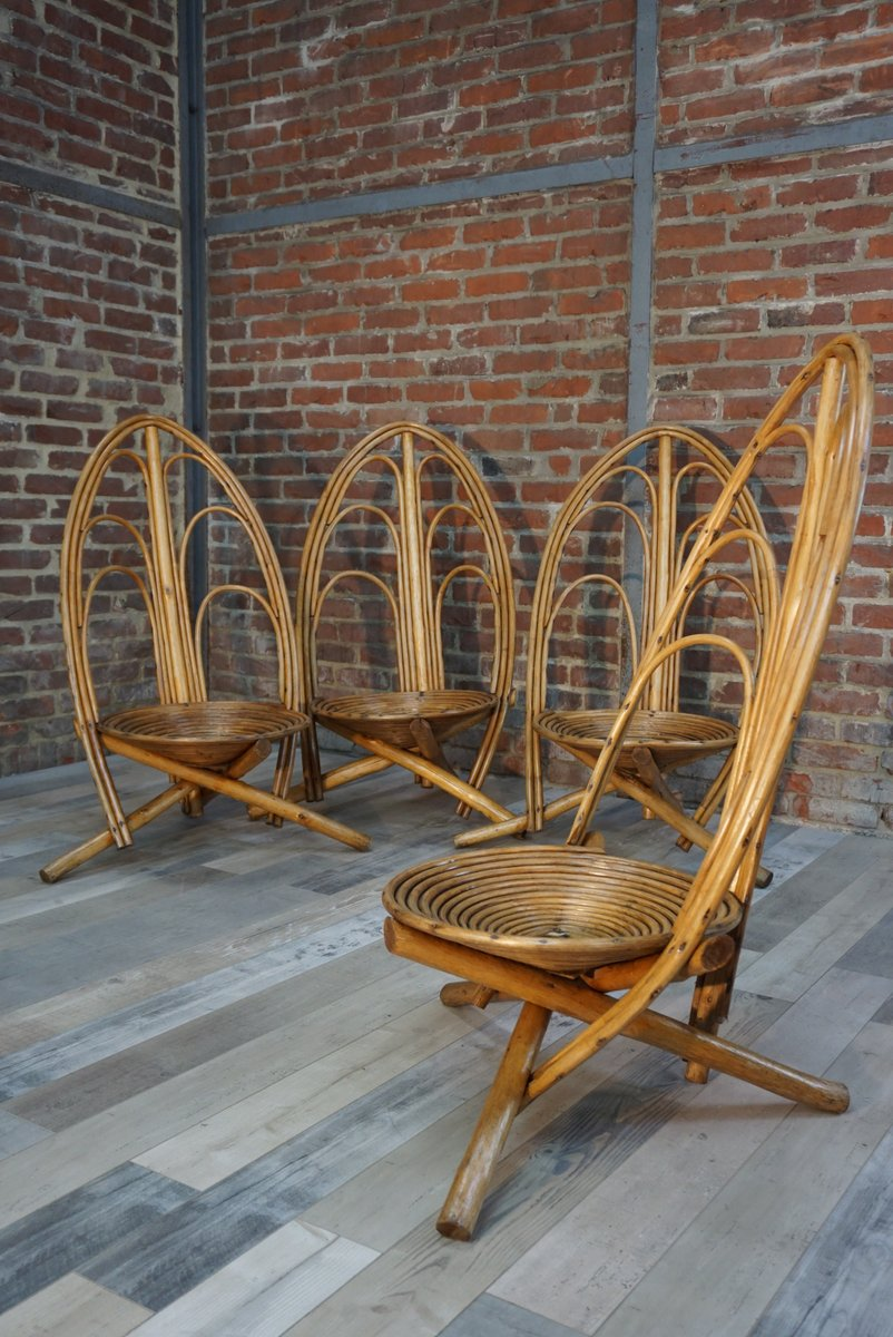 MidCentury Rattan Garden Chairs 1960s Set of 4 for sale