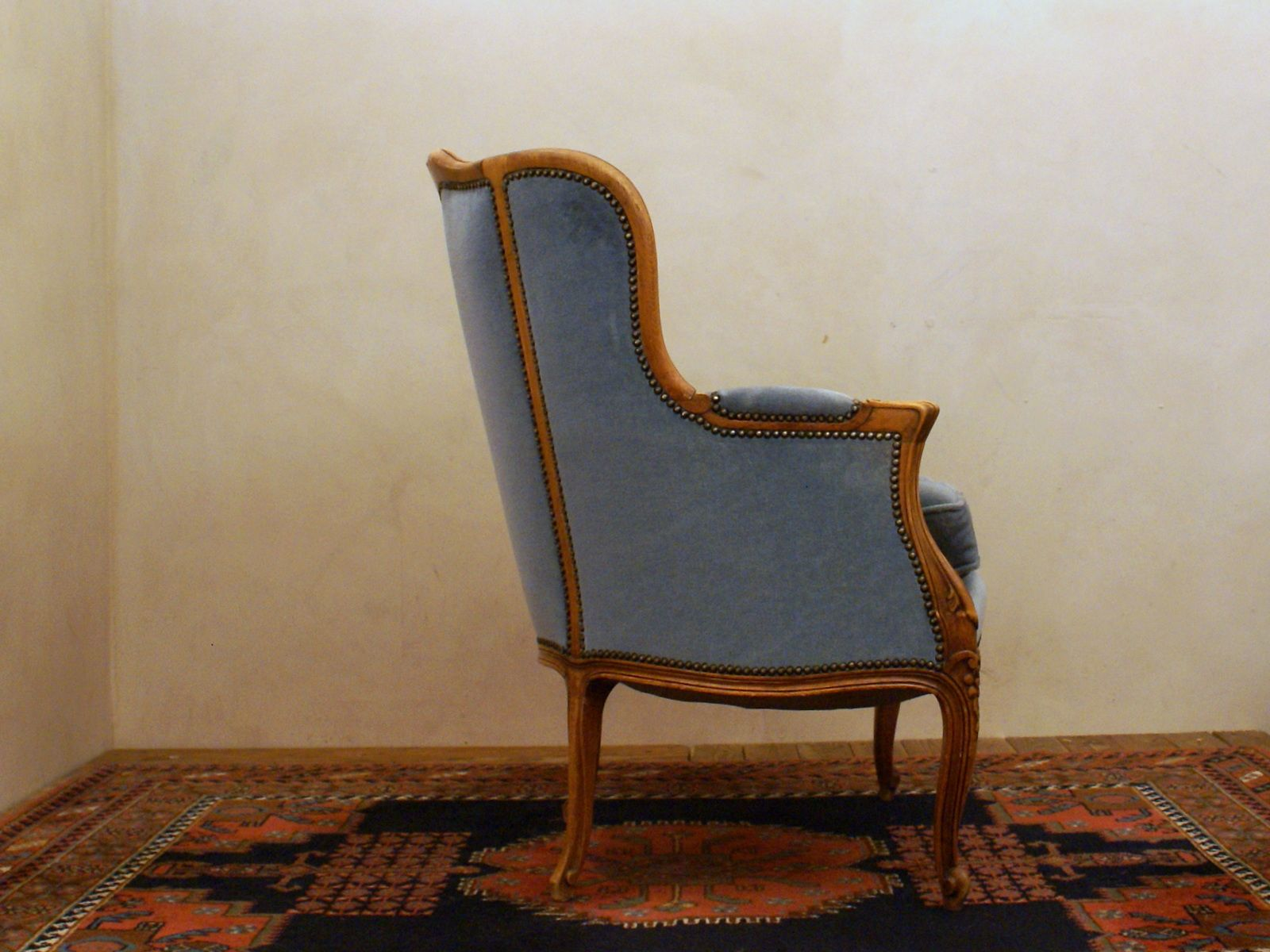 blue velvet armchair nz white salon chairs 1940s for sale at pamono