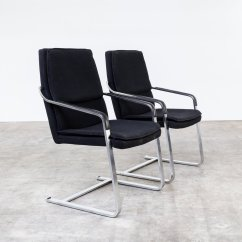Retro Chrome Chairs Chair Bar Stool Wood Vintage And Black Fabric From Walter Knoll