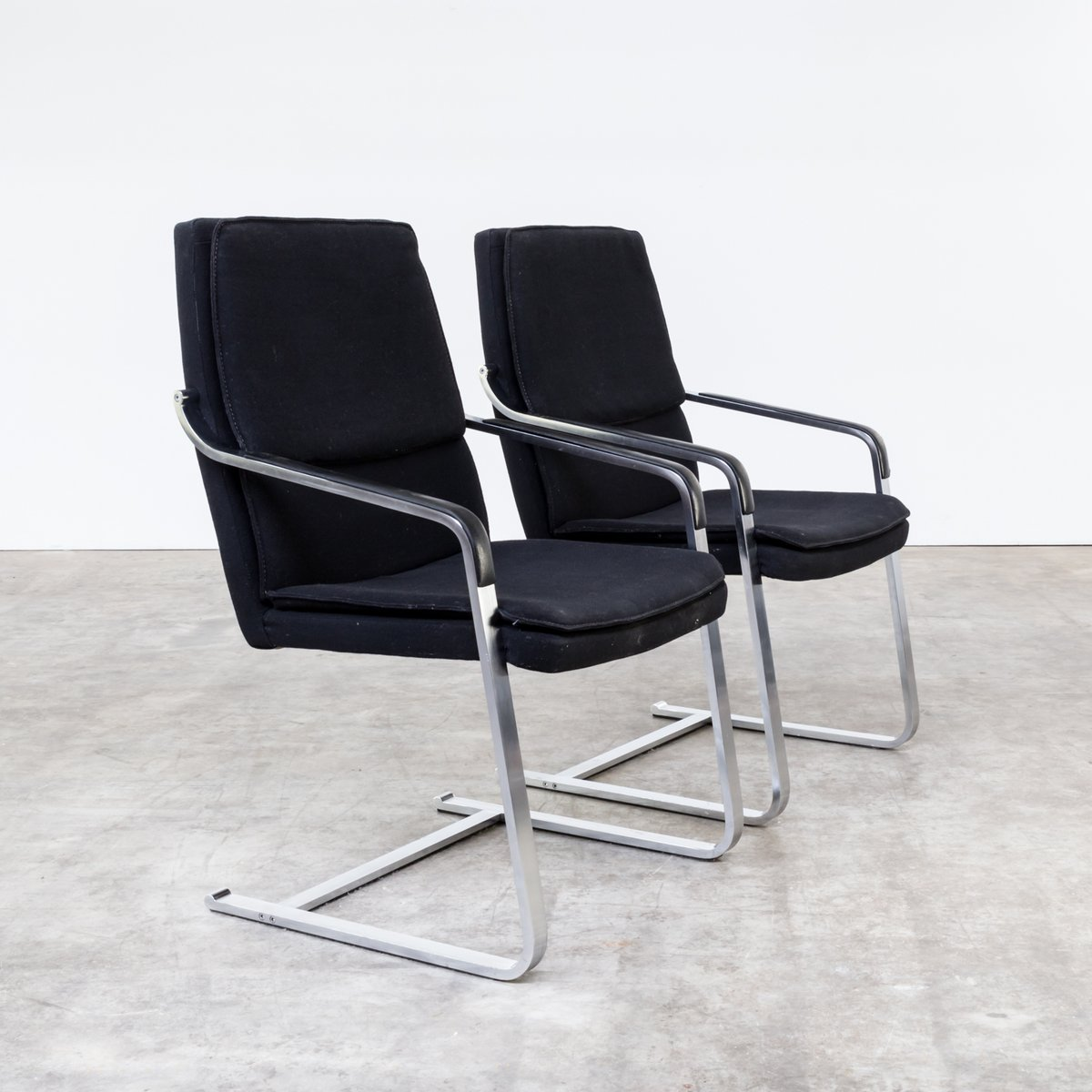 Black Chairs For Sale Vintage Chrome And Black Fabric Chairs From Walter Knoll