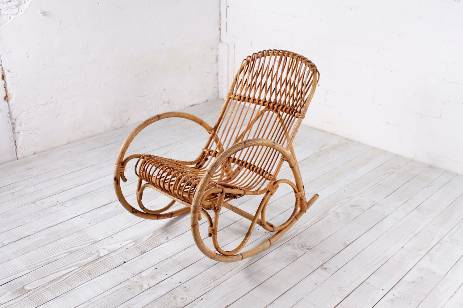 retro rocking chair personalized makeup chairs vintage bamboo 1950s for sale at pamono