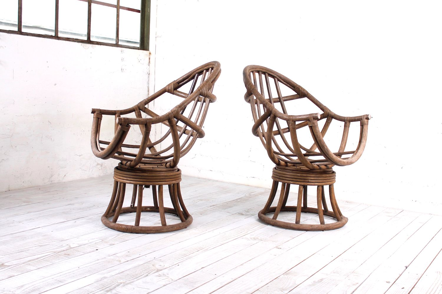 revolving chair used pressed back chairs rotating vintage bentwood garden 1950s set of 2