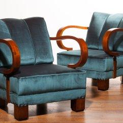 Blue Velvet Armchair Nz Desk Chair Exercises Art Deco Chairs 1920s Set Of 2 For Sale At