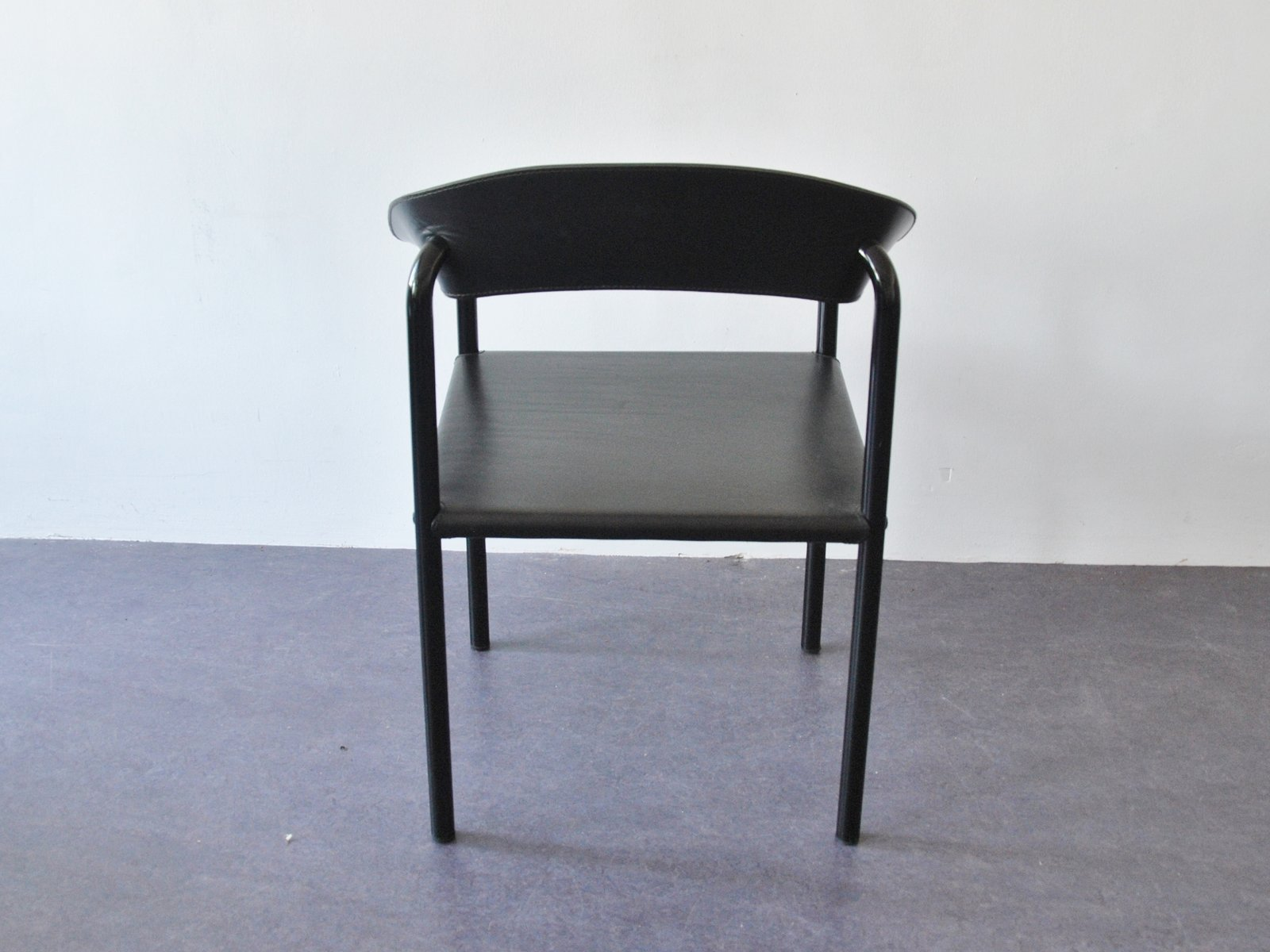Black Metal Dining Chairs Vintage Black Leather And Black Lacquered Metal Dining