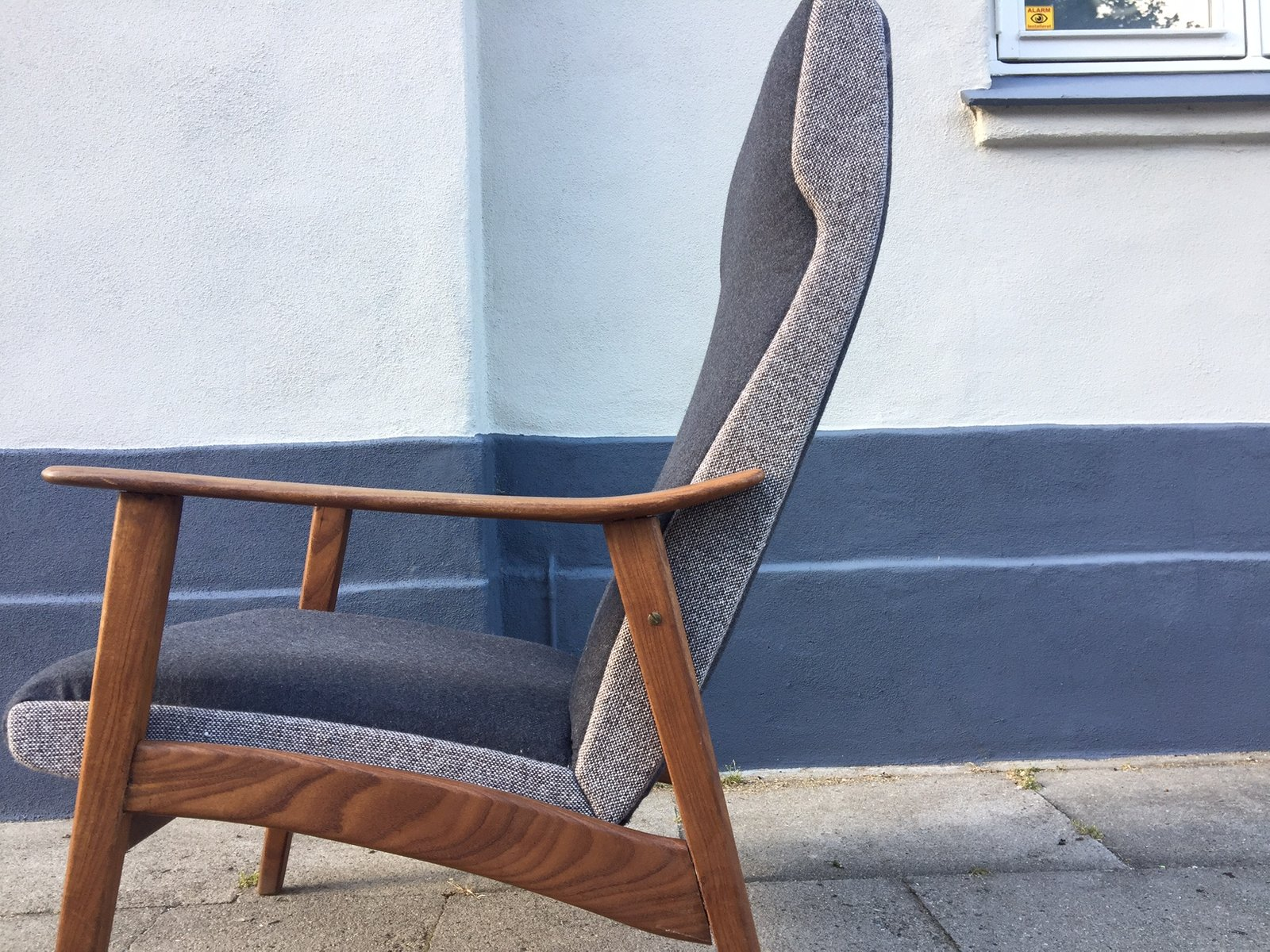 high back easy chair navy upholstered dining danish mid century teak 1960s for