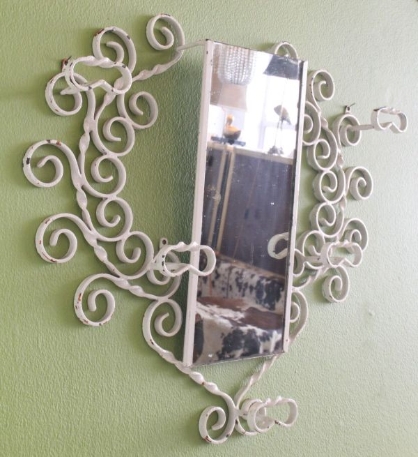 Large Wrought Iron Wall-mounted Coat Rack With Mirror 1950s Pamono
