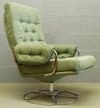 Mid-Century Chrome and Fabric Swivel Chair, 1960s for sale ...