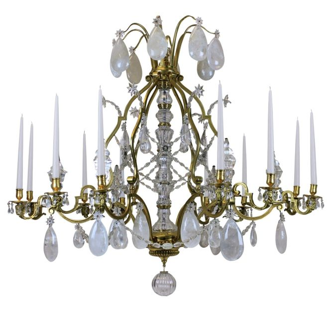 Large Antique Louis Xiv Gilt Bronze Rock Crystal Chandelier
