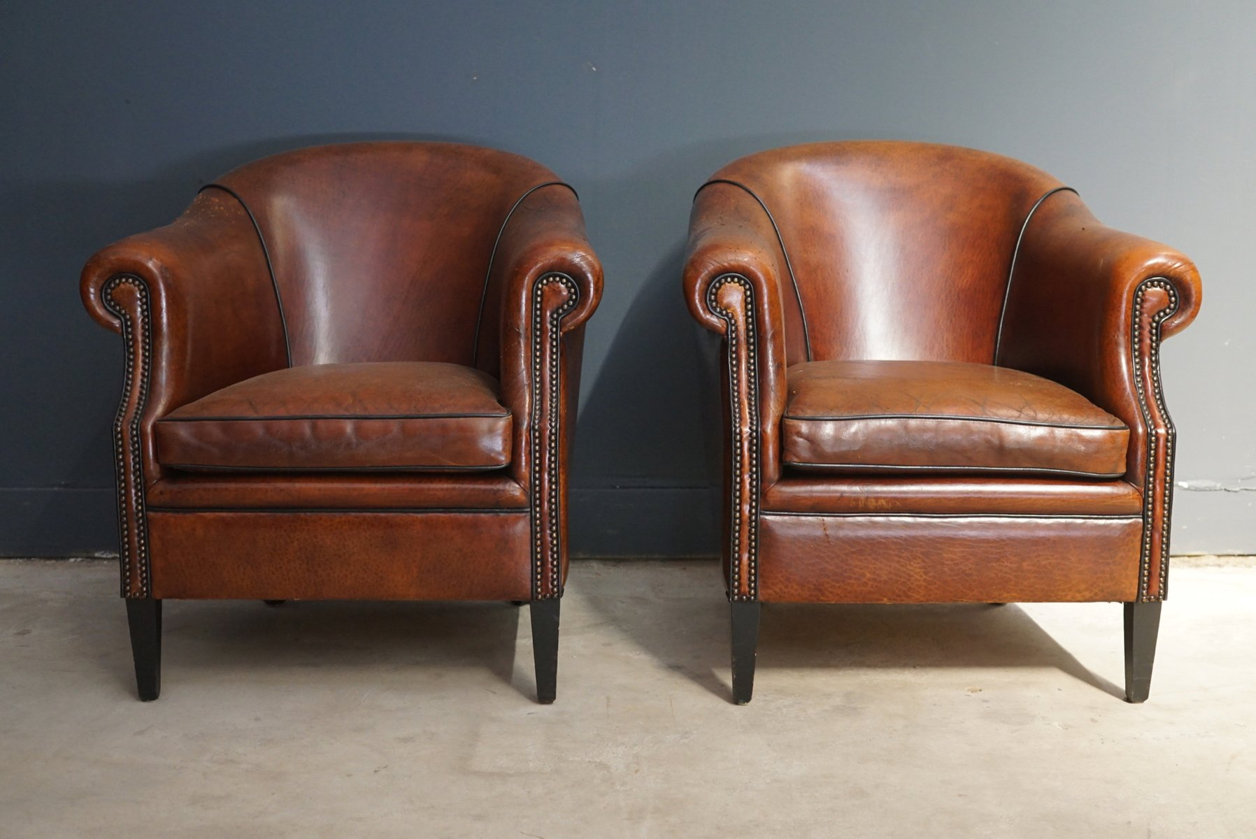 Club Chair Leather Vintage Cognac Leather Club Chairs Set Of 2 For Sale At