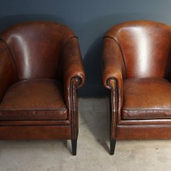 Leather Club Chairs For Sale Walmart Travel High Chair Vintage Cognac Set Of 2 At