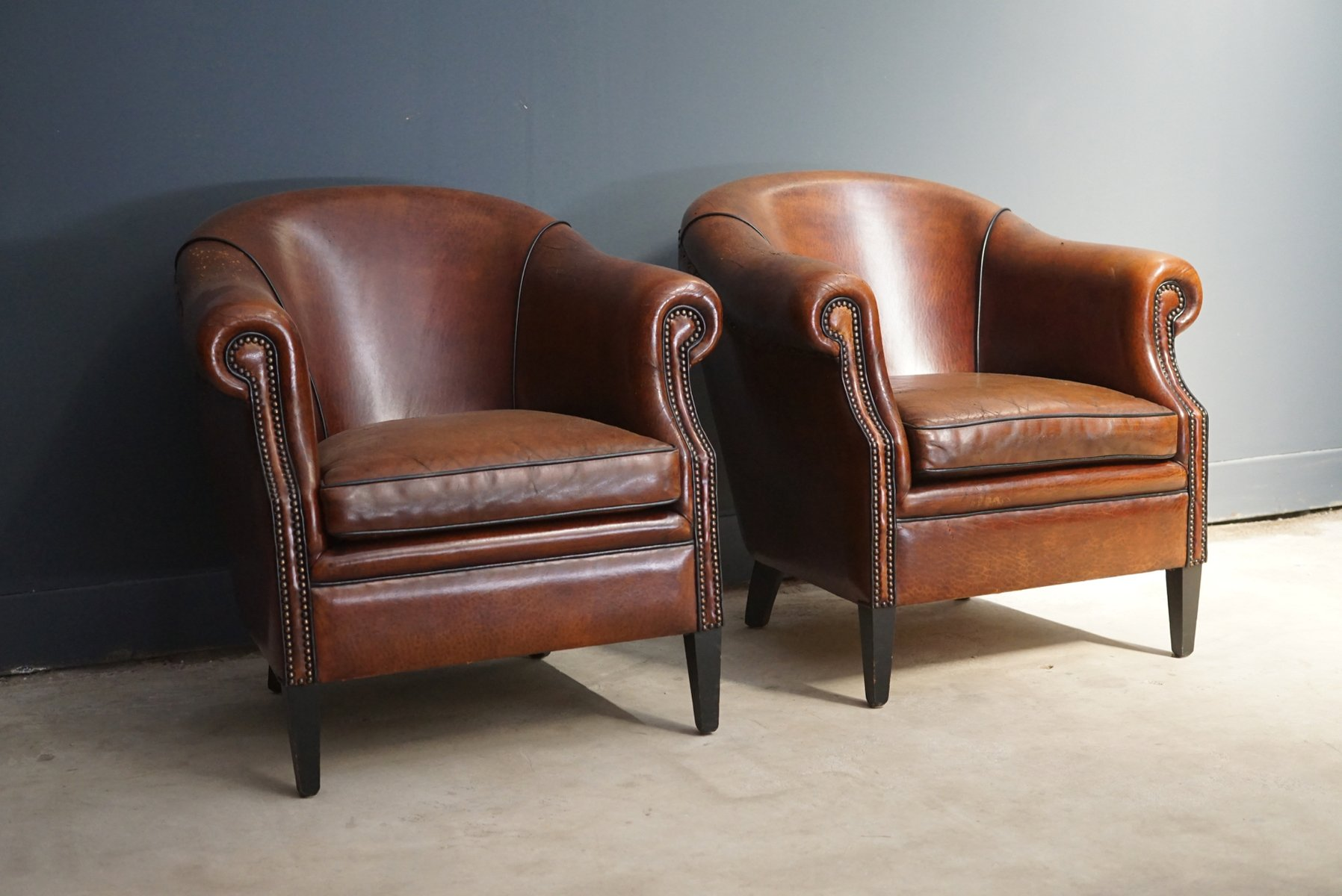 Vintage Club Chairs Vintage Cognac Leather Club Chairs Set Of 2 For Sale At