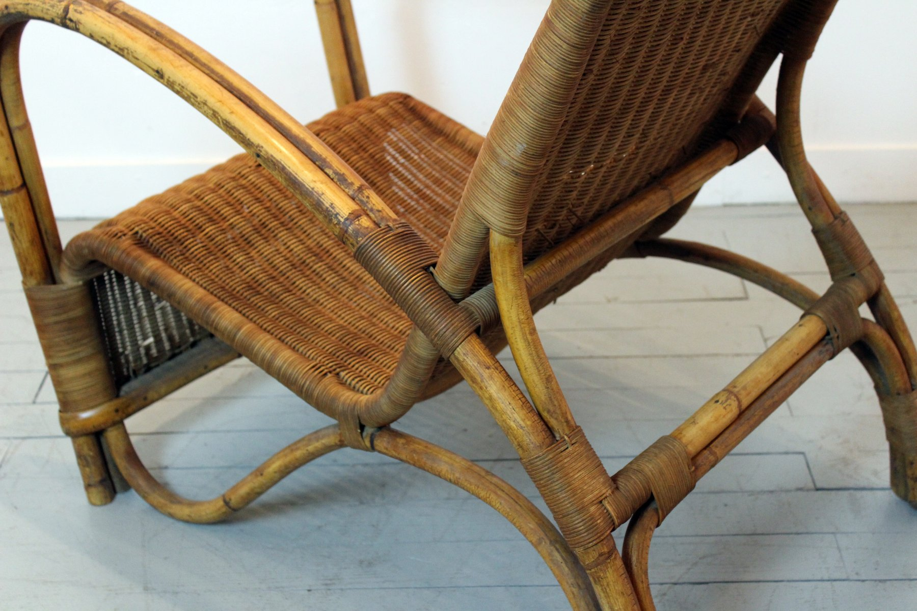 Vintage Rattan Chairs Vintage Bamboo And Rattan Lounge Chair For Sale At Pamono