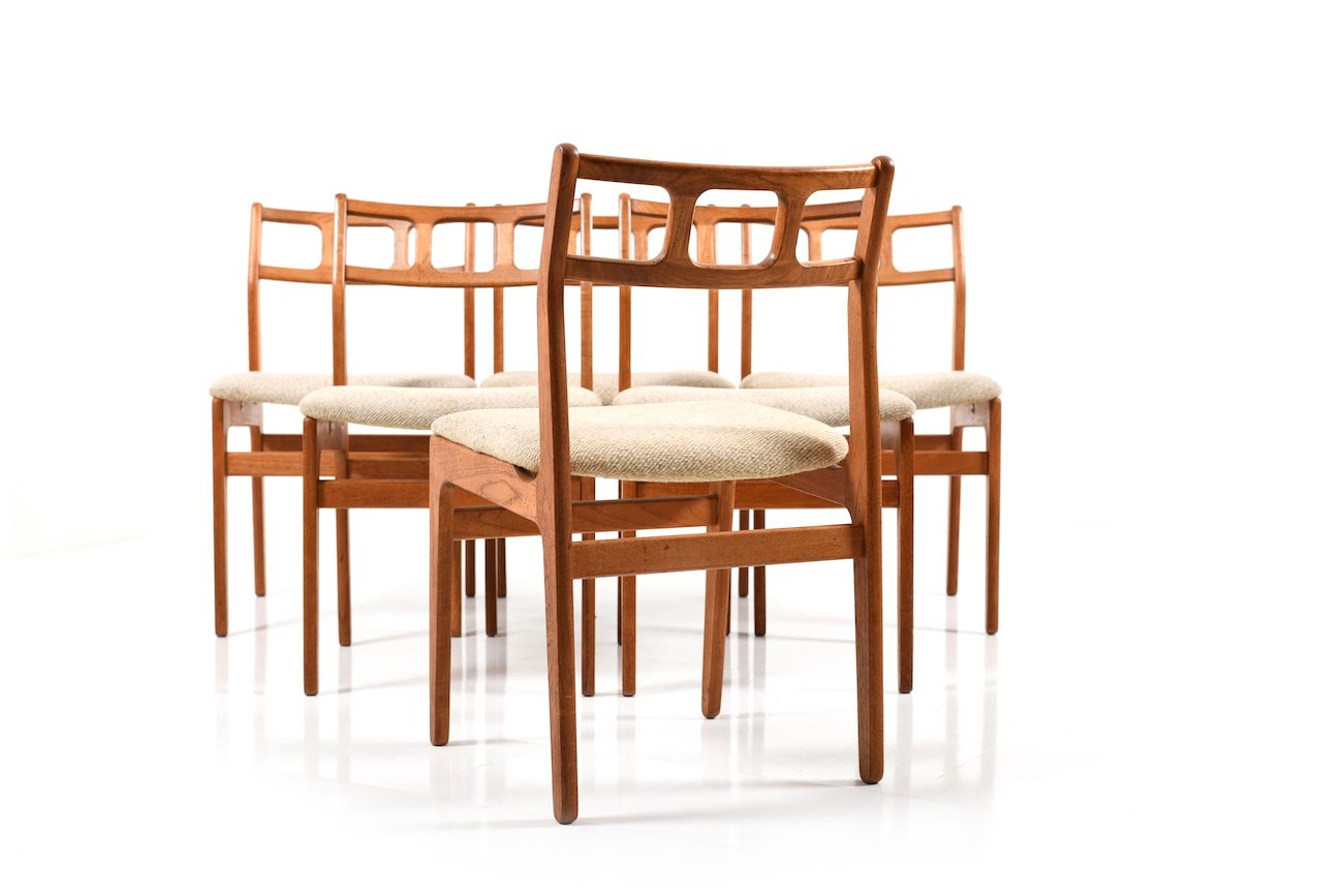 danish dining chair white stool teak chairs set of 6 for sale at pamono