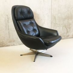 Black Leather Swivel Lounge Chair Amazon Danish 1960s For Sale