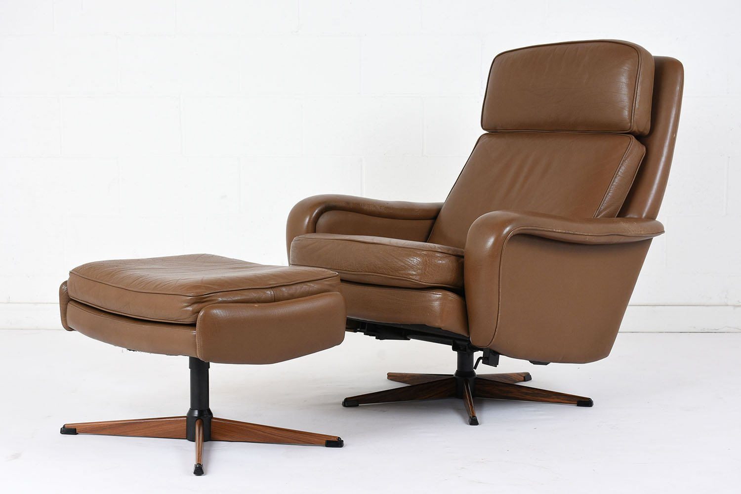 leather lounge chair with ottoman aaron pottery barn vintage and 1960s for sale