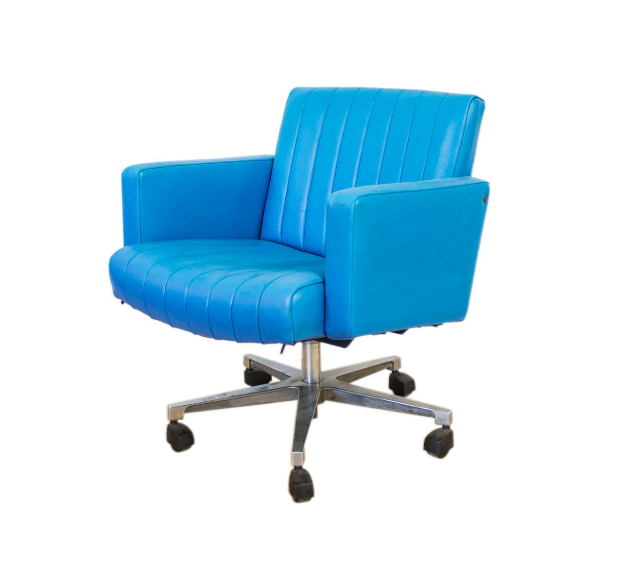 Turquoise Leather Chair Vintage Turquoise Leather Swivel Desk Chair For Sale At Pamono