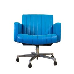 Swivel Office Chair Plans Hon Ignition User Manual Vintage Turquoise Leather Desk For Sale At Pamono