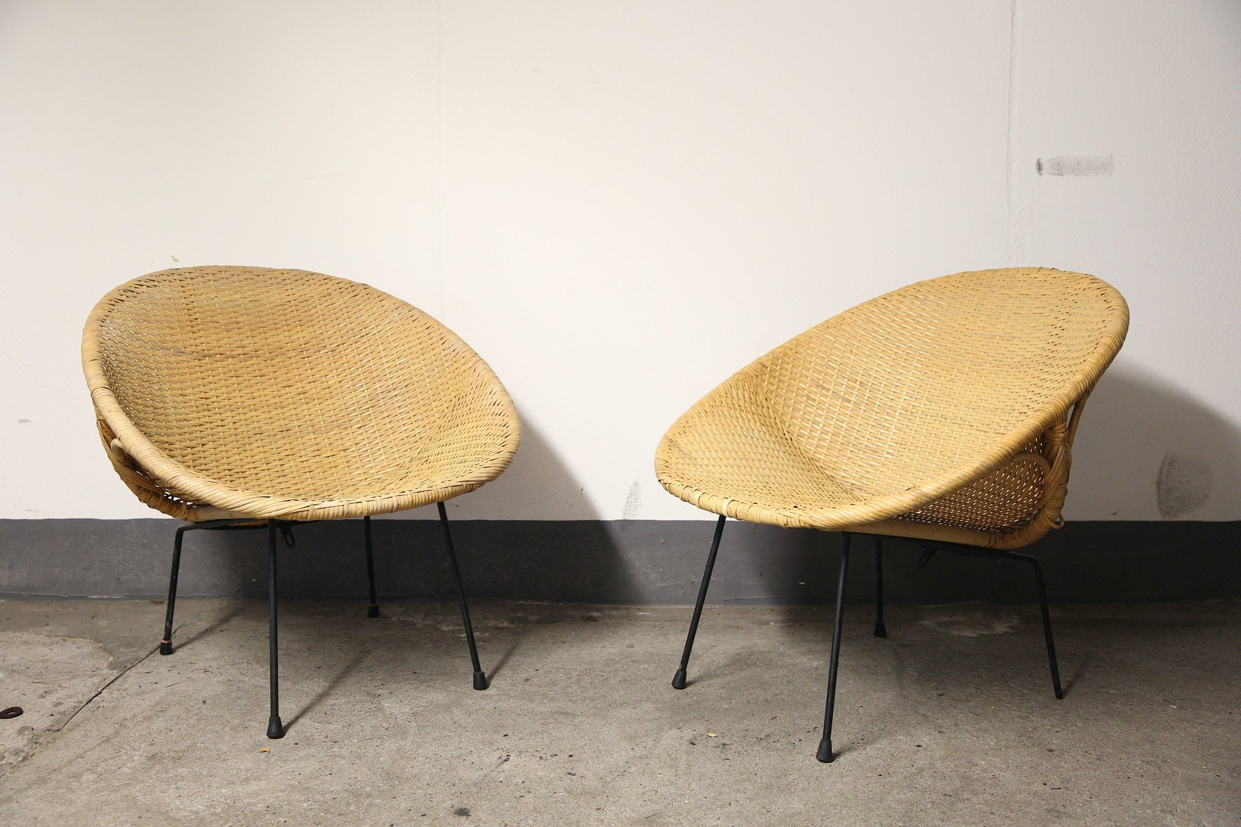 round bamboo chair office discount basket chairs 1950s set of 2 for sale at pamono