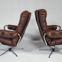 Swivel Chair Sale Uk La Z Boy Office Parts Vintage Leather Set Of 2 For At Pamono