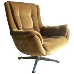 Swivel Chair Mid Century Pottery Barn Gold Velvet Lounge 1960s For