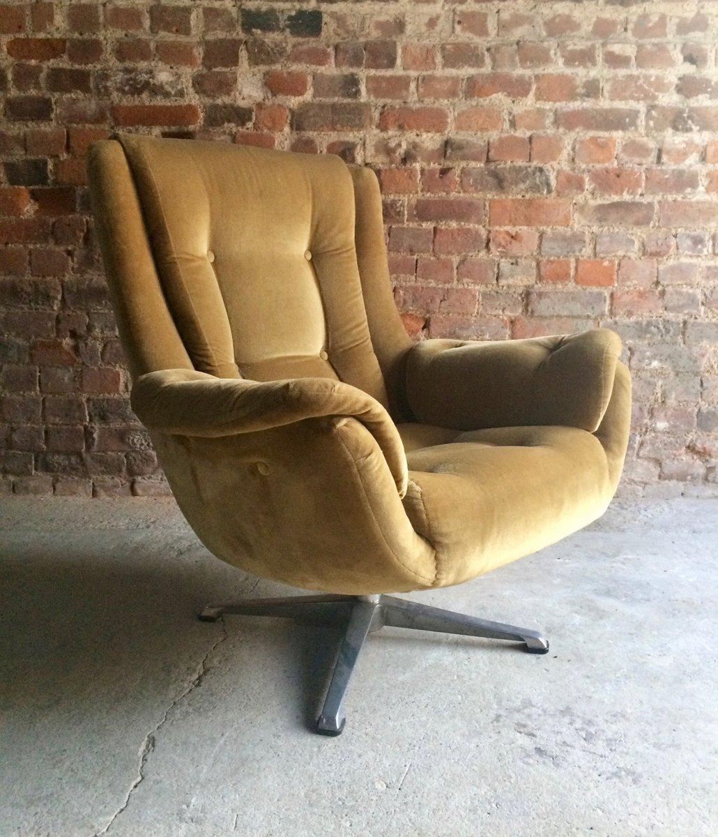gold velvet chair bar stools chairs mid century swivel lounge 1960s for