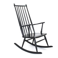 Black Rocking Chair Fabric Foldable Chairs Scandinavian 1960s For Sale At Pamono
