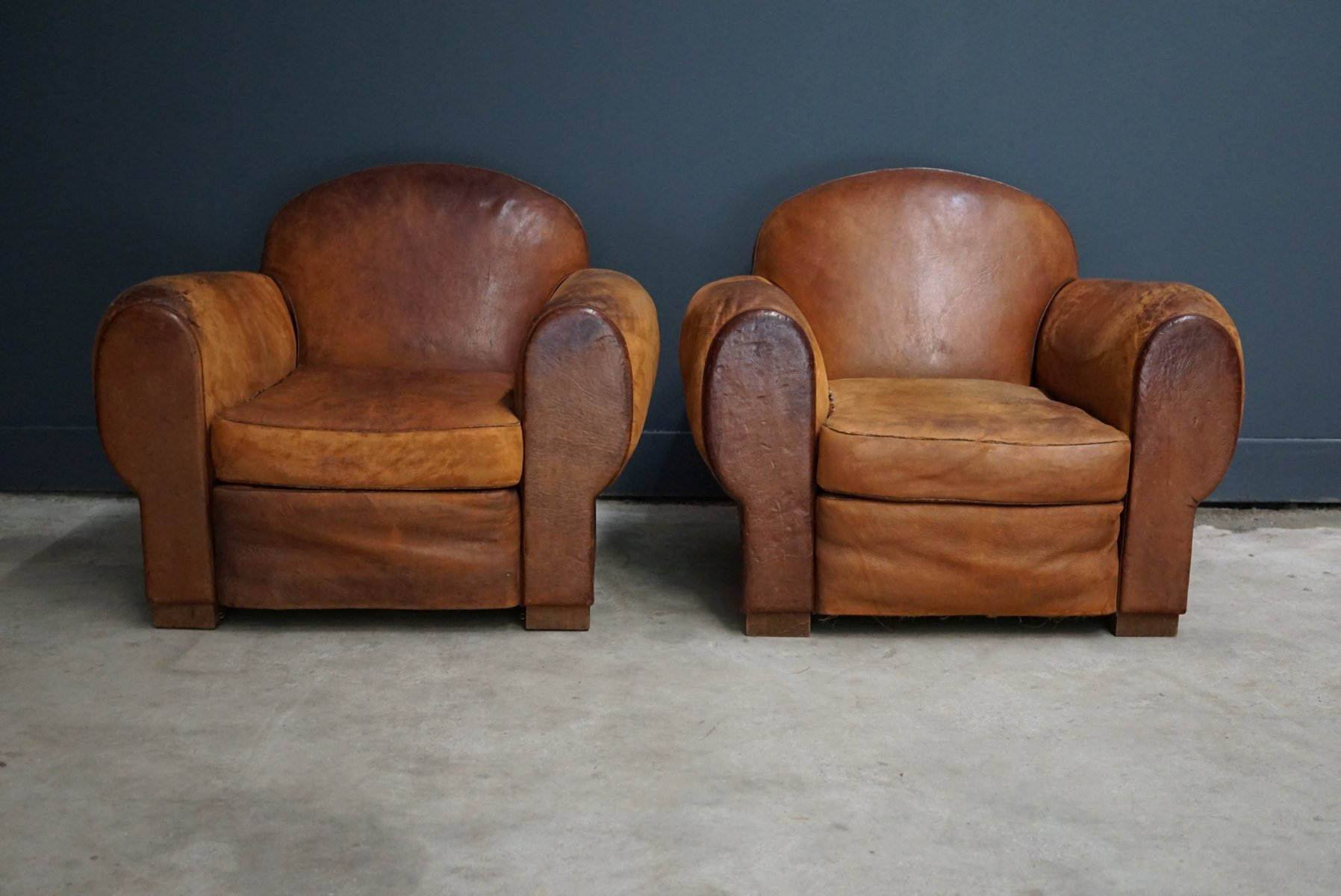 Vintage Club Chairs Vintage French Cognac Leather Club Chairs Set Of 2 For