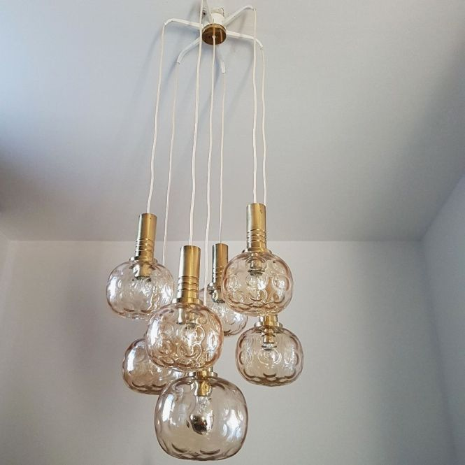 Brass And Glass Globes Chandelier From Raak Amsterdam 1970s