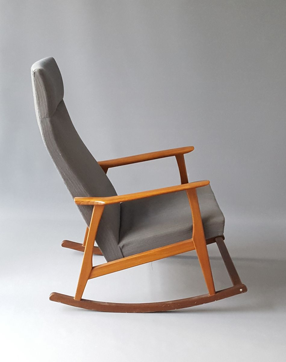 Vintage Danish Teak Rocking Chair for sale at Pamono