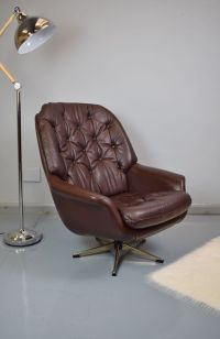 Mid-Century Dark Brown Leather Swivel Lounge Chair, 1960s ...