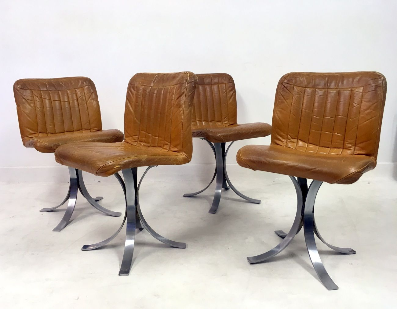 chrome dining chairs australia hair styling french leather and from flox 1970s