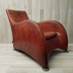 Leather Lounge Chair With Ottoman Captains Loge Cognac By Gerard