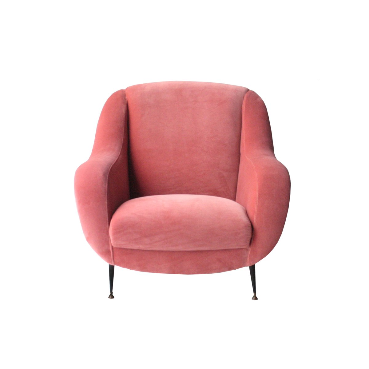 velvet armchair pink outdoor reclining lounge chair with ottoman 1950s for sale at pamono