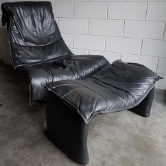 Big Chair With Ottoman Stools Ikea Vintage Large Black Leather Swivel Lounge