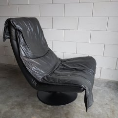 Swivel Club Chair With Ottoman High Chairs For Toddlers Vintage Large Black Leather Lounge